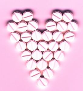 Shape of heart made of pills